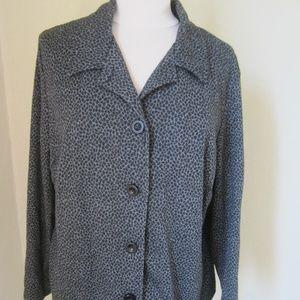 Leslie Faye Woman 2x Black leopard spot blouse